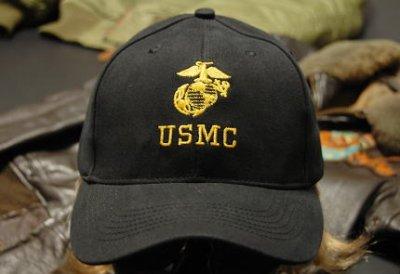 画像1: 帽子 メンズ ミリタリー キャップ ROTHCO ロスコ US MARINE オフィシャル USMC ロゴ / ブラック