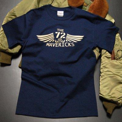 画像1: リトルジョー爆撃機モデル「THE MAVERICKS」ミリタリーTシャツ・紺