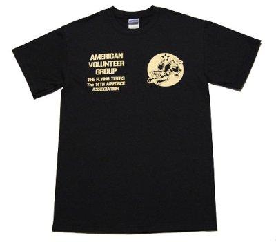 画像1: AVGフライングタイガース「THE MAVERICKS」ミリタリーTシャツ・黒