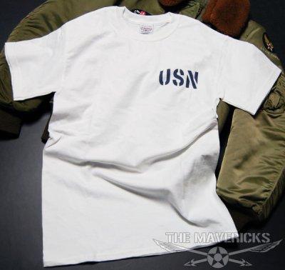 画像1: ミリタリー Tシャツ 米海軍 NAVY 黒猫 THE MAVERICKS 半袖 / ホワイト 白