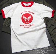 画像2: USAFエアフォース・「THE MAVERICKS」トリムTシャツ・白×赤 (2)