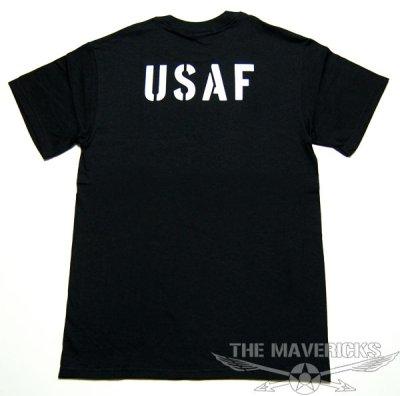 画像1: USAFエアフォース・「THE MAVERICKS」ミリタリーTシャツ・黒