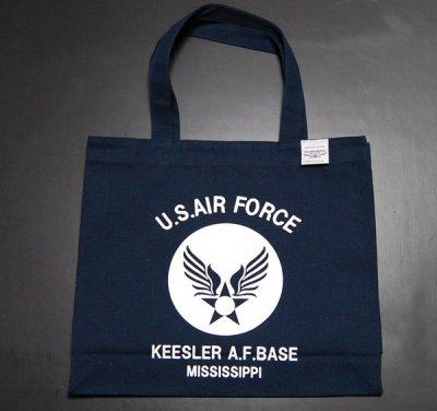 画像2: 肩がけ トートバッグ キャンバス地 USAFエアフォース 大容量 ネイビー 紺
