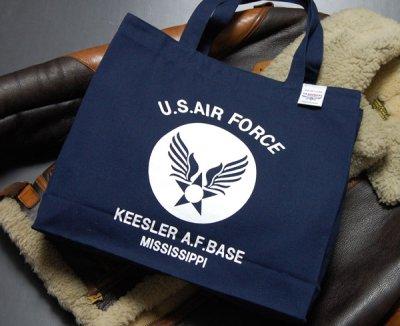 画像1: 肩がけ トートバッグ キャンバス地 USAFエアフォース 大容量 ネイビー 紺