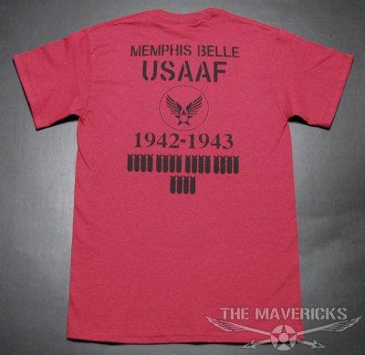 画像2: 爆弾エアフォース「THE MAVERICKS」ミリタリーTシャツ・クランベリー