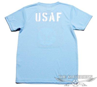画像1: 水陸両用 ラッシュガード にも使える ドライ Tシャツ メンズ 半袖 USAF エアフォース / ライトブルー