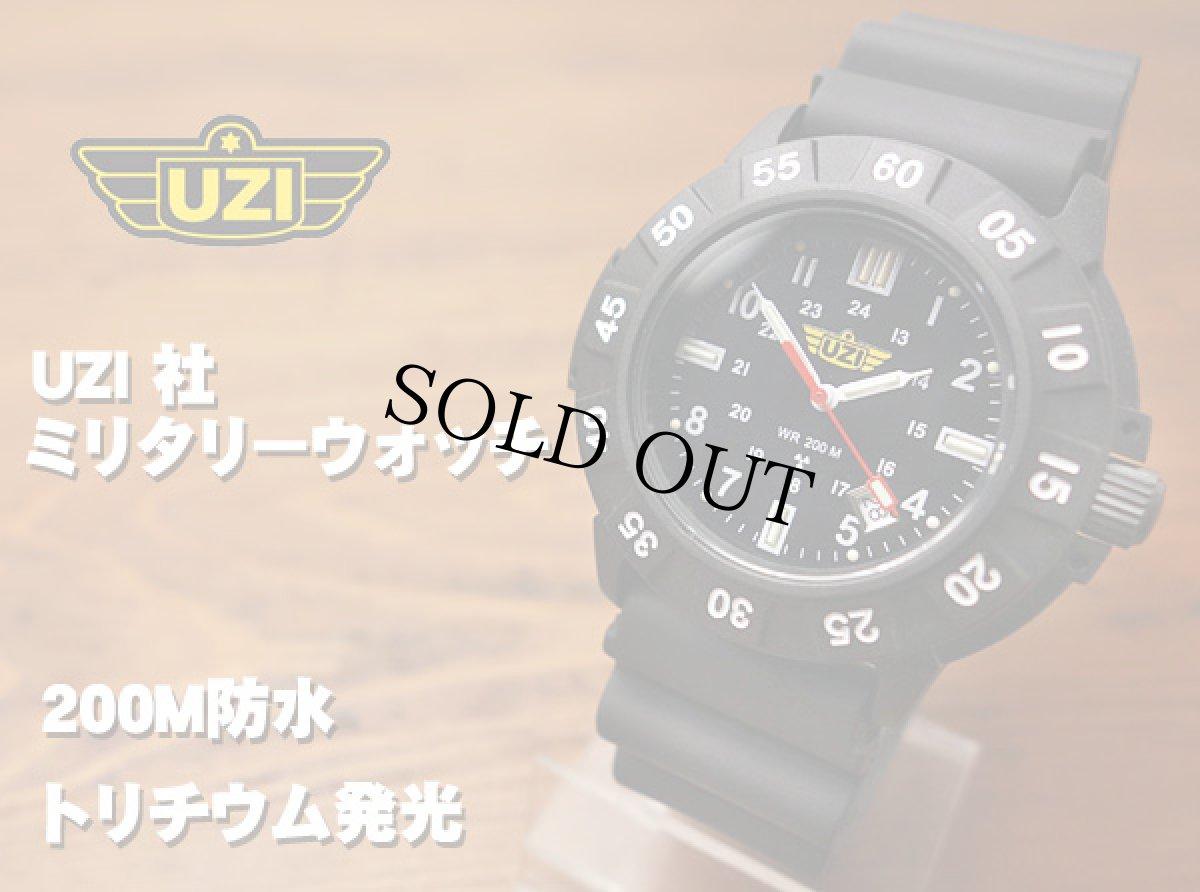 画像1: ミリタリー ウォッチ メンズ スイス製 quartz ムーブメント採用 UZI 社 ブランド 新品 / ブラック 黒 (1)