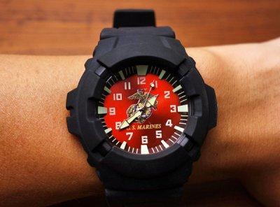 画像1: 腕時計 メンズ ミリタリー ウォッチ U.S.MARINE 公認モデル /AQUAFORCE WATCH ROTHCO 4377 赤
