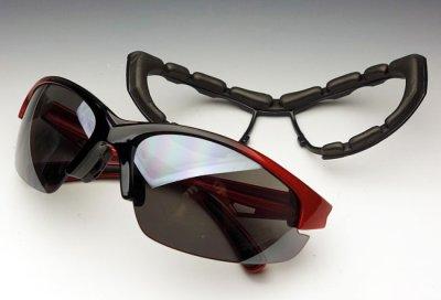 画像1: バイカーズシェイド パット外し 可能 バイク スポーツサングラス 新品 / 赤 レッド