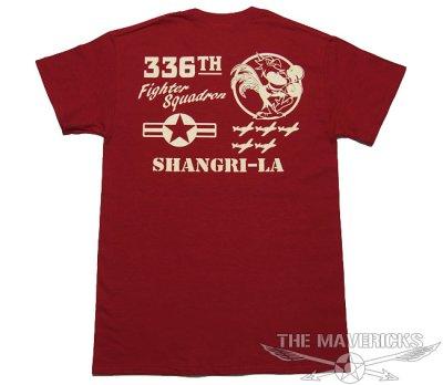 画像2: 第8空軍 シャングリラ ミリタリー メンズ Tシャツ 半袖 ロゴT / レッド 赤