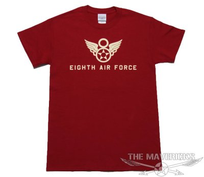 画像1: 第8空軍 シャングリラ ミリタリー メンズ Tシャツ 半袖 ロゴT / レッド 赤