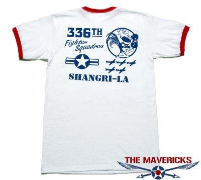 画像2: トリム Tシャツ 半袖 ミリタリー リンガー 第8空軍 シャングリラ モデル / 白 赤