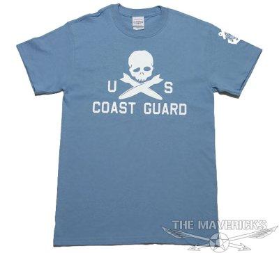 画像1: ミリタリーTシャツ 半袖 U.S.CoastGuard アメリカ沿岸警備隊 スカル / ブルーグレー