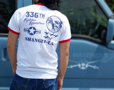 画像3: トリム Tシャツ 半袖 ミリタリー リンガー 第8空軍 シャングリラ モデル / 白 赤