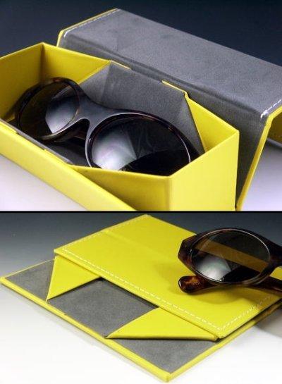 画像1: ペタンと折りたたみ!便利なメガネケース・イエロー