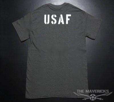 画像1: USAFエアフォース・「THE MAVERICKS」ミリタリーTシャツ・グレー