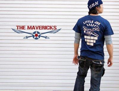 画像2: リトルジョー爆撃機モデル「THE MAVERICKS」ミリタリーTシャツ・紺
