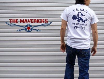 画像3: ミリタリー Tシャツ 米海軍 NAVY 黒猫 THE MAVERICKS 半袖 / ホワイト 白
