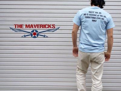 画像3: 米海軍 NAVY Seabees 蜂 モデル THE MAVERICKS ミリタリーTシャツ 半袖 / 水色 ライトブルー