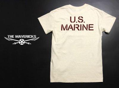 画像1: Tシャツ ミリタリー USマリン U.S.MARINE 米海兵隊 MAVERICKS ブランド / 生成り