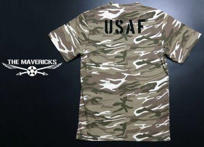 画像1: Tシャツ メンズ 半袖 デザート カモフラージュ 迷彩 ミリタリー Tシャツ USAF / ブラウン カーキー