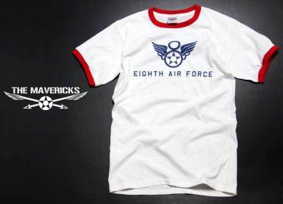 画像1: トリム Tシャツ 半袖 ミリタリー リンガー 第8空軍 シャングリラ モデル / 白 赤
