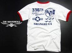 画像1: トリム Tシャツ 半袖 ミリタリー リンガー 第8空軍 シャングリラ モデル / 白 赤 (1)