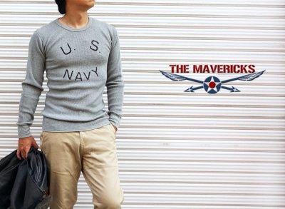 画像2: ミリタリー サーマル ワッフル 長袖 Tシャツ 米海軍NAVY ロゴ グレー