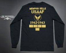画像1: アウトレット品! 長袖 ロング Tシャツ USコットン 爆弾エアフォース ブラック XL (1)