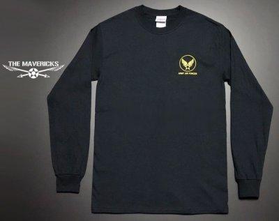 画像1: アウトレット品! 長袖 ロング Tシャツ USコットン 爆弾エアフォース ブラック XL