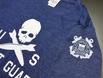 画像1: U.S.CoastGuard(アメリカ沿岸警備隊)スカル・8分丈Tシャツ・ヘザーネイビー