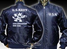 画像1: MA-1 フライトジャケット メンズ 米海軍 NAVY CROAKER潜水艦 モデル ネイビー (1)