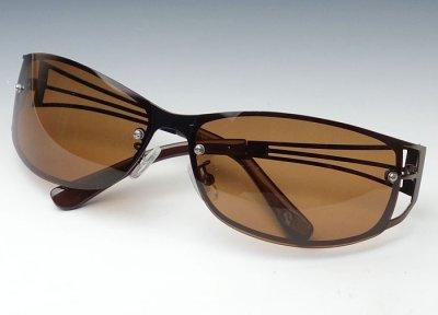画像2: サングラス 偏光レンズ UVカット メンズ/おしゃれ デザイン メタル ブラウン/ポラライズド 偏向