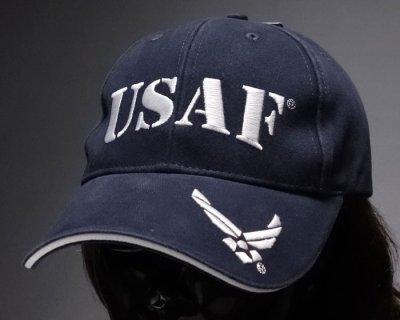 画像1: ミリタリー ベースボールキャップ 米空軍オフィシャル品 ROTHCO ブランド USAF ロゴ  刺繍/ネイビー 紺