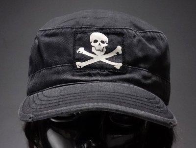 画像1: キャップ メンズ 帽子 ミリタリー JOLLY ROGER 海賊旗 ヴィンテージキャップ ROTHCO ロスコ ブランド /ブラック 黒