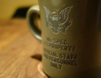 画像2: 日本製 マグカップ U.S.ARMY ミリタリー コップ 瀬戸物 / オリーブドラブ