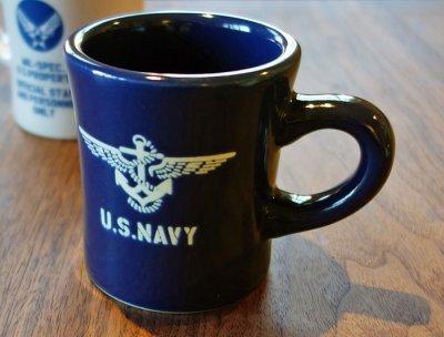 画像1: 日本製 マグカップ U.S.NAVY ミリタリー コップ 瀬戸物 / ネイビー