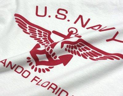画像2: ミリタリー 半袖 Tシャツ US NAVY 米海軍 錨マーク MAVERICKS / ホワイト ボルドー