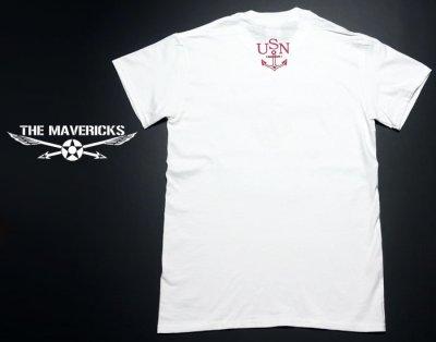 画像1: ミリタリー 半袖 Tシャツ US NAVY 米海軍 錨マーク MAVERICKS / ホワイト ボルドー
