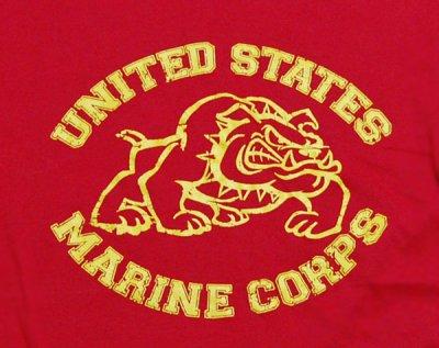 画像1: Tシャツ メンズ 半袖 ミリタリー ROTHCO US MARINE オフィシャル品 ブルドッグ/赤 レッド