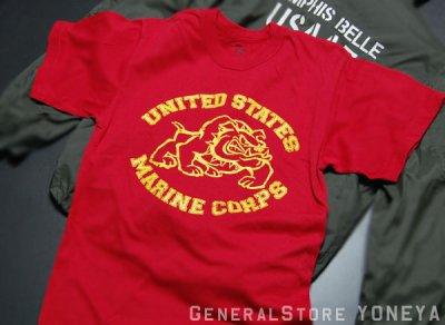 画像2: Tシャツ メンズ 半袖 ミリタリー ROTHCO US MARINE オフィシャル品 ブルドッグ/赤 レッド