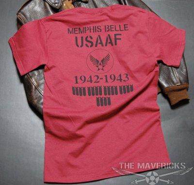 画像3: 爆弾エアフォース「THE MAVERICKS」ミリタリーTシャツ・クランベリー