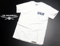 画像2: ミリタリー Tシャツ 米海軍 NAVY 黒猫 THE MAVERICKS 半袖 / ホワイト 白 (2)