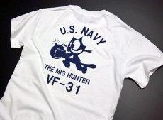 画像3: ミリタリー Tシャツ 米海軍 NAVY 黒猫 THE MAVERICKS 半袖 / ホワイト 白 (3)