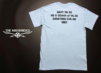 画像1: 米海軍 NAVY Seabees 蜂 モデル THE MAVERICKS ミリタリーTシャツ 半袖 / 水色 ライトブルー