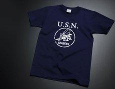 画像5: 極厚 スーパーヘビーウェイト Tシャツ 半袖 ミリタリー NAVY 米海軍 SeaBees / 紺 ネイビー (5)