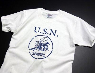 画像1: 極厚 スーパーヘビーウェイト Tシャツ 半袖 ミリタリー NAVY 米海軍 SeaBees / 白 ホワイト