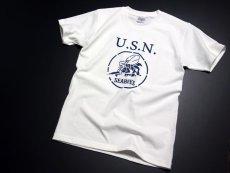 画像4: 極厚 スーパーヘビーウェイト Tシャツ 半袖 ミリタリー NAVY 米海軍 SeaBees / 白 ホワイト (4)