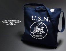 画像1: キャンバス2WAYショルダーバッグ・米海軍「SeaBees」モデル/ネイビー (1)