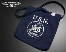 画像2: キャンバス2WAYショルダーバッグ・米海軍「SeaBees」モデル/ネイビー (2)